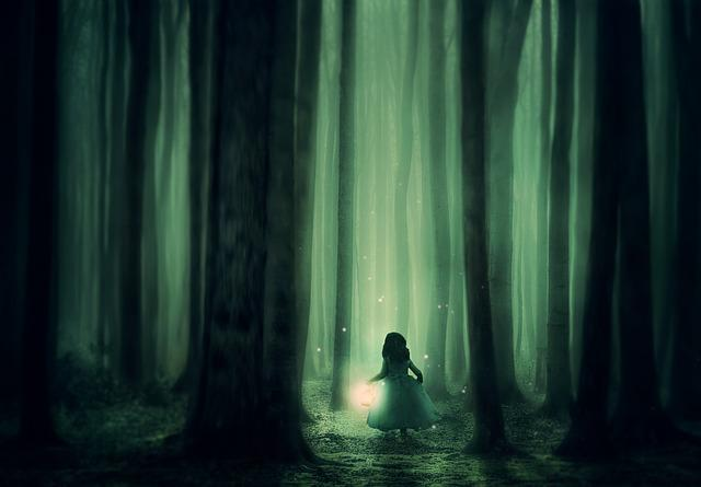 Forest, Girl, Trees, Fog, Lantern, Lighting, Atmosphere