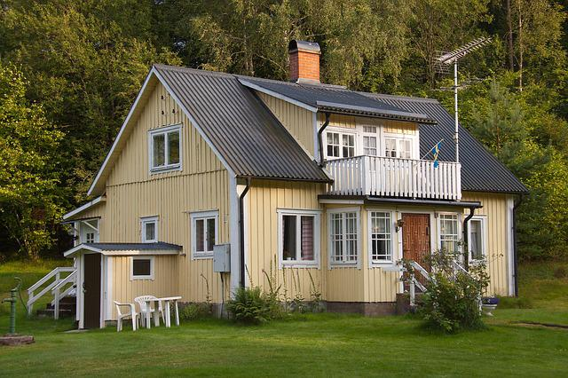 Swedish, House, Yellow, Forest, Woods, Villa