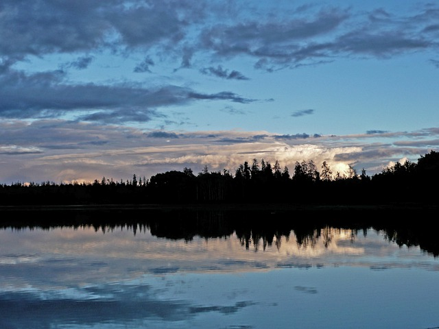 Sunset, Lake, Landscape, Weather, Forest, Trees