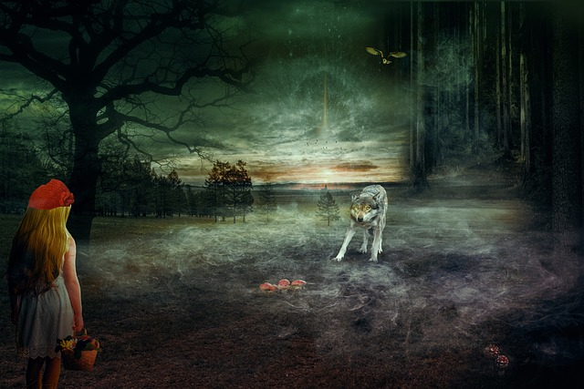 Fairy Tales, Rotkäppchen, Wolf, Weird, Forest