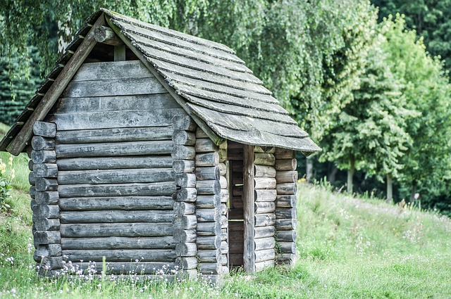 Block House, Old, Wood, Bar, Forest