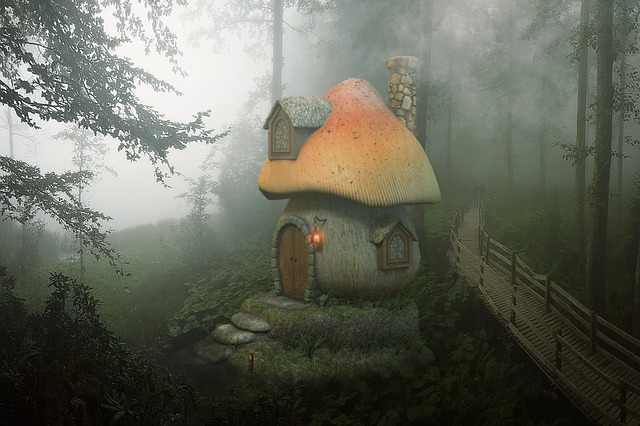 Mushroom, House, Forest, Wood, Fantasy