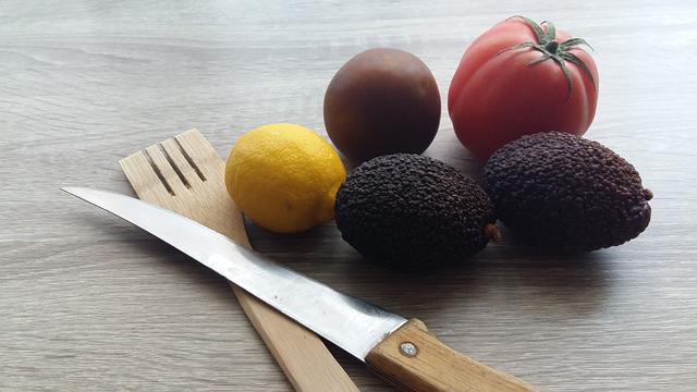 Knife, Food, Healthy, Fork, Avocado, Lemon, Tomato