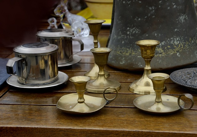 Candle Holders, Sugar Bowl, Bronze, Steel, Former, Old