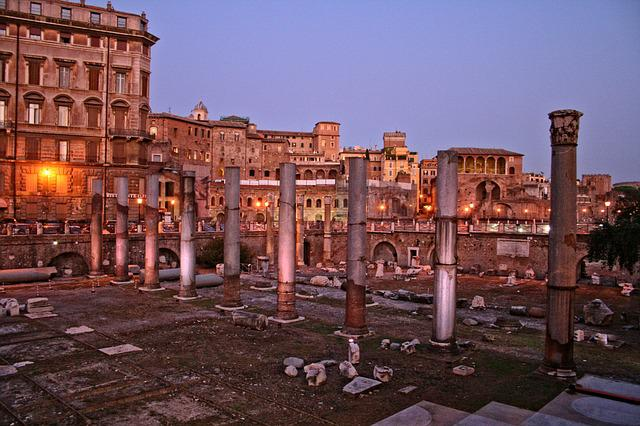 Italy, Rome, Forum Of Trajan, Night