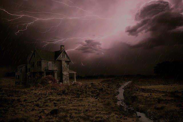 Thunderstorm, House, Forward, Sky, Clouds, Weather