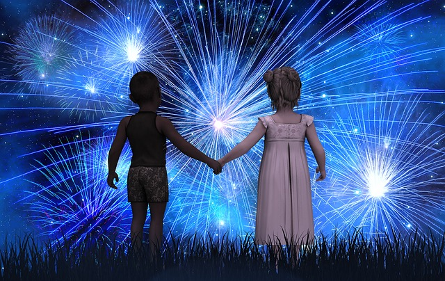 Children, Forward, New Year's Day, Fireworks