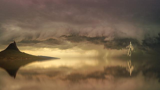 Forward, Clouds, Coast, Mountain, Flash, Thunderstorm