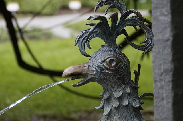 Hahn, Fountain, Metal, Sculpture, Animal, Bird