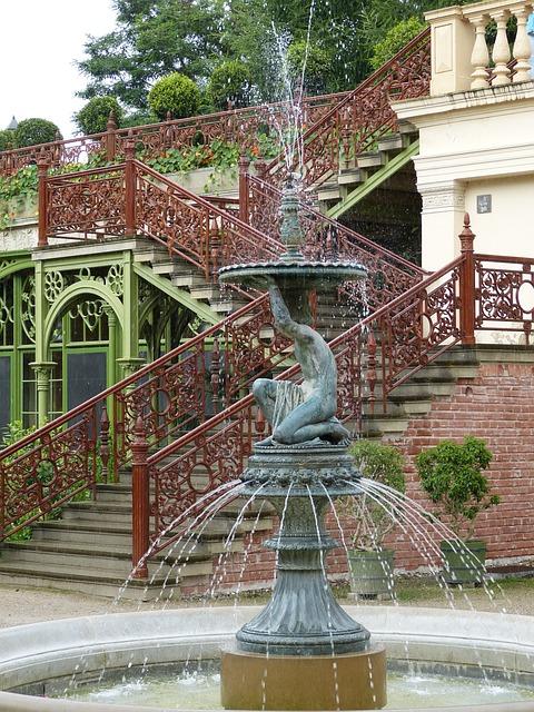 Fountain, Schwerin, Castle, Mecklenburg