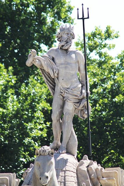 Statue, Madrid Spain, Fountain Neptune, God, Trident
