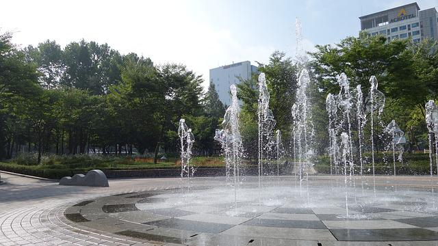 Park, Fountain, Summer