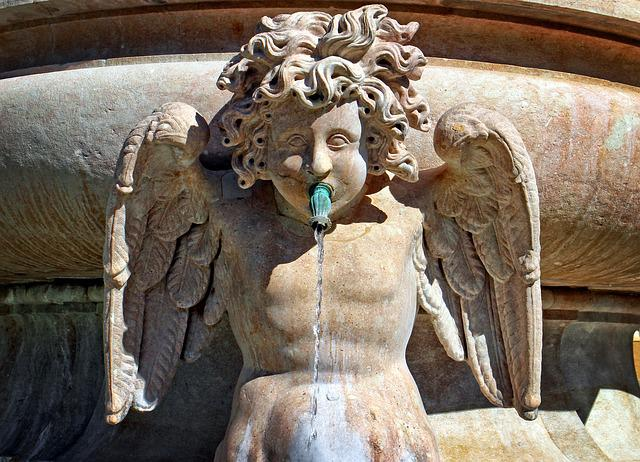 Angel, Stone Figure, Fountain, Fig, Sculpture, Statue