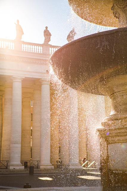 Rome, Fountain, Street, City, Building, Area, Water