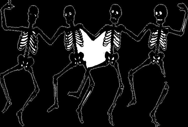 Skeletons, Danse Macabre, Bones, Dance, Four, Black