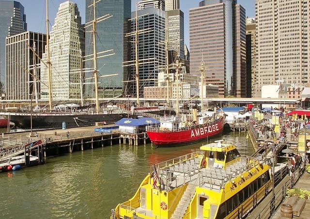 New York, Port, Ship, Manhattan, Fire-boat, Four-masted