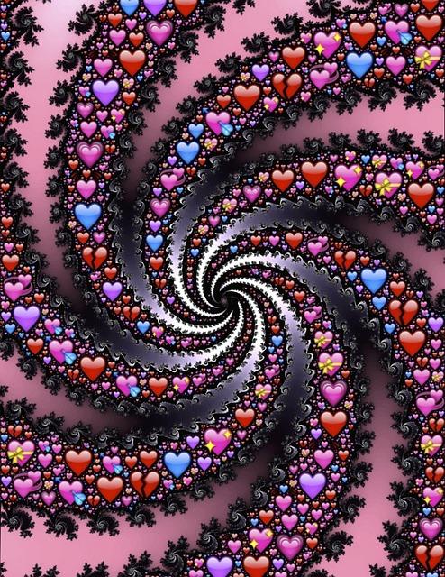 Emoji, Hearts, Spiral, Fractal, Valentine, Love, Icons