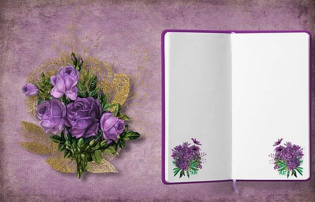 Diary, Bouquet, Roses, Frame, Flowers, Background