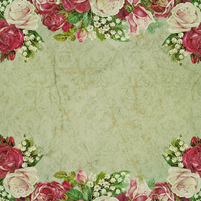 Vintage, Background, Flowers, Frame, Damask, Romantic