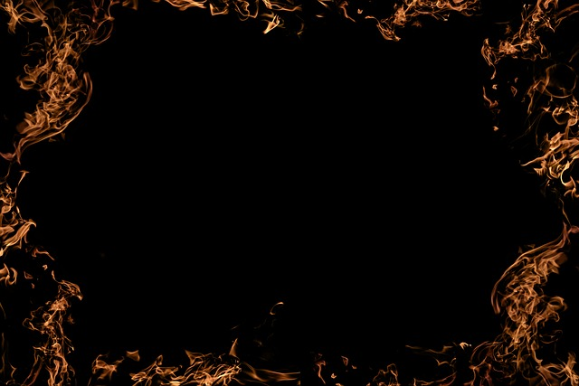 Fire, Frame, Background, Red, Black, Flame, Pattern