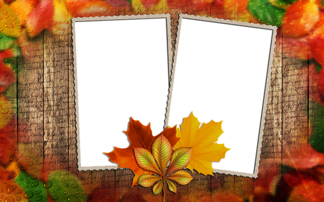 Frame, Photo Frame, Autumn Leaf, Frame For Two Photos