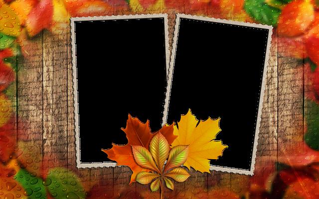 Frame, Photo Frame, Autumn Leaf, Frame For Two Photos