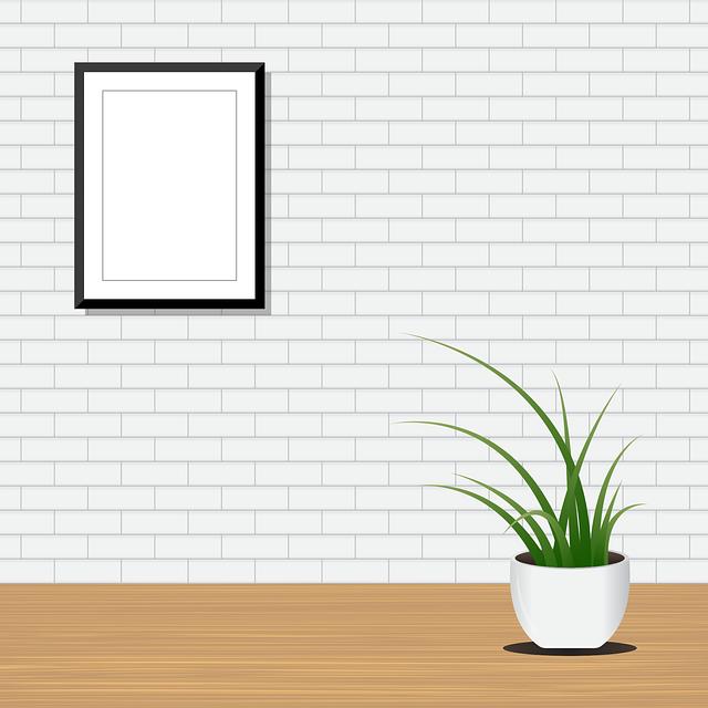 Flower, Ways, Green, Brick, White, Wall, Photo, Frame