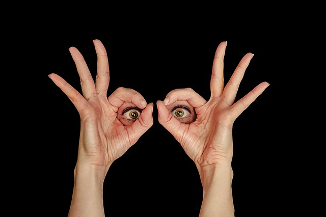 View, Eyes, By Looking, Woman, Frame, Hand, Finger