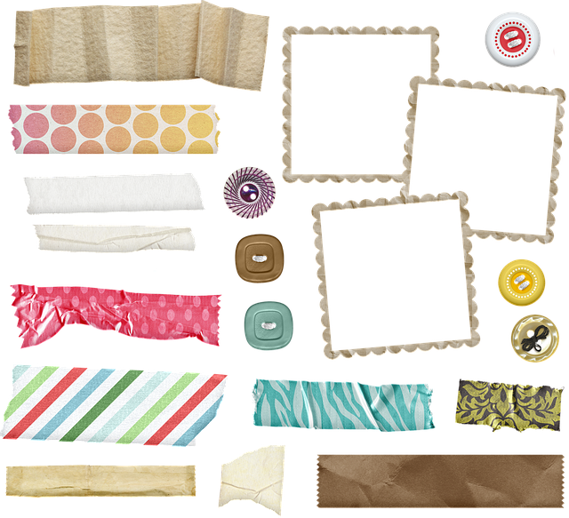 Scrapbook Supplies, Tape, Frame, Buttons, Washi Tape