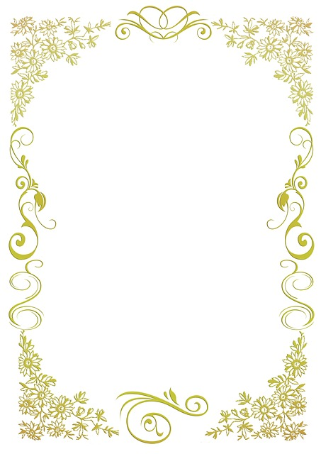 Stationery, Floral, Gold, Green, Frame, Ornaments
