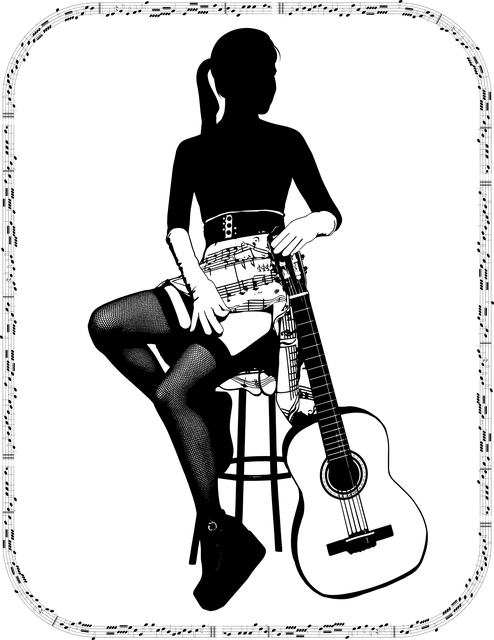Woman, Silhouette, Guitar, Guitarist, Music, Frame