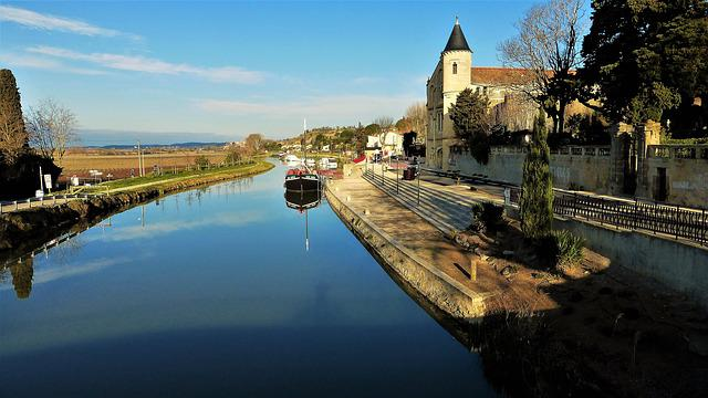 Architecture, France, Aude, Channel, Body Of Water