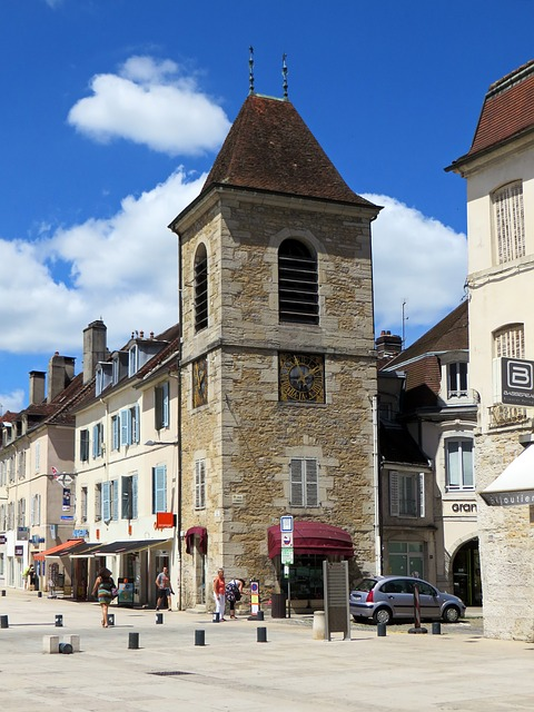 Lons-le-saunier, France, Jura, Belfry, Building, Tower