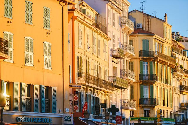 Sunset, Facades, Cannes, France, Sunlight, Architecture