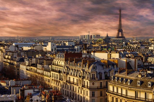 Paris, Eiffel Tower, Night, City, View, France