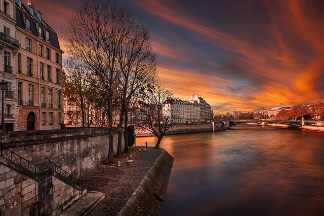 Paris, Evening, France, Travel, Red, Atmosphere, Color