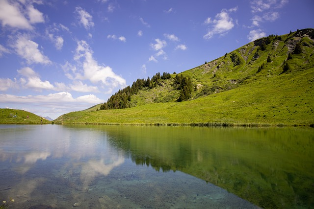 Lake, Mountains, Hill, Fields, France