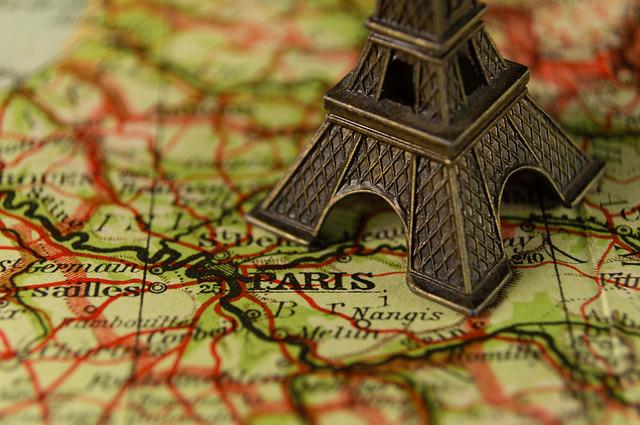 Close Up, Eiffel Tower, France, Landmark, Map