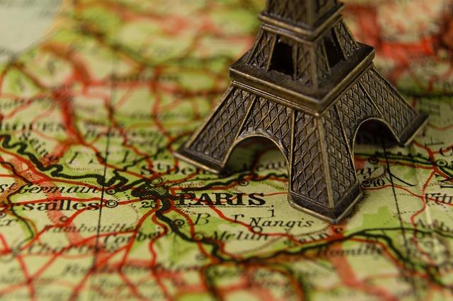 Close Up, Eiffel Tower, France, Landmark, Map