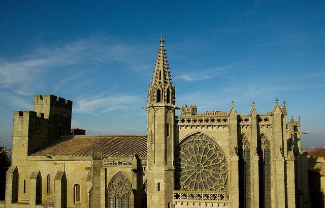 Carcassonne, France, Church, Gothic, Rosette