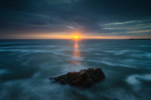 Ocean, Sunrise, Dawn, Peninsula, France, Landscape