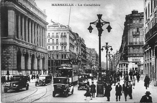 Marseille, The Canebière, France, Old Postcard, Tram