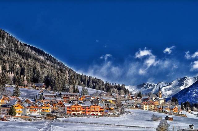 Colle-di-fuori, France, Town, Village, Winter, Snow