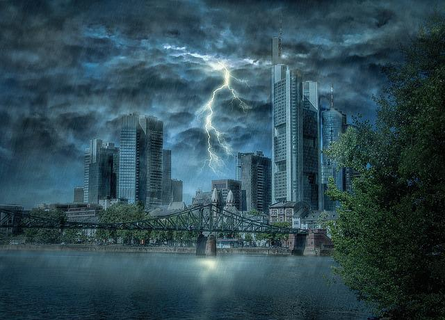 Frankfurt, Flash, Thunderstorm, Storm, Clouds, City