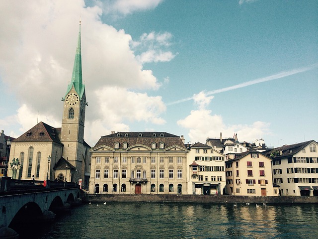Zurich, Limmath, River, Fraumünster, Church, Sky