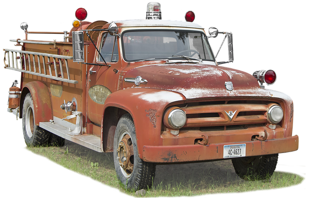 Ford, V8, Fire Truck, Free And Edited, Vintage, Red