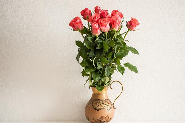 Bouquet Of Roses, Brass Vase, Free, Blossom, Bloom