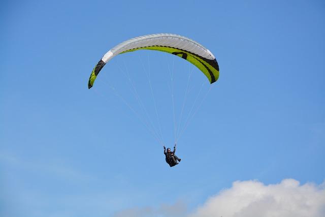 Paragliding, Free Flight, Green Sail Black, Sport