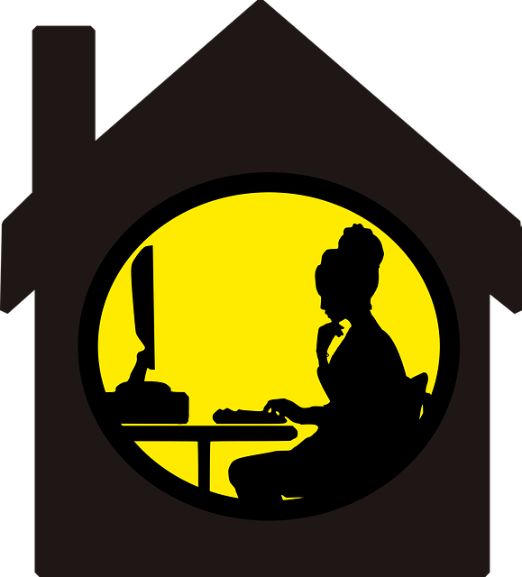 Home, Computer, Freelance, Alone, Apartment, Silhouette