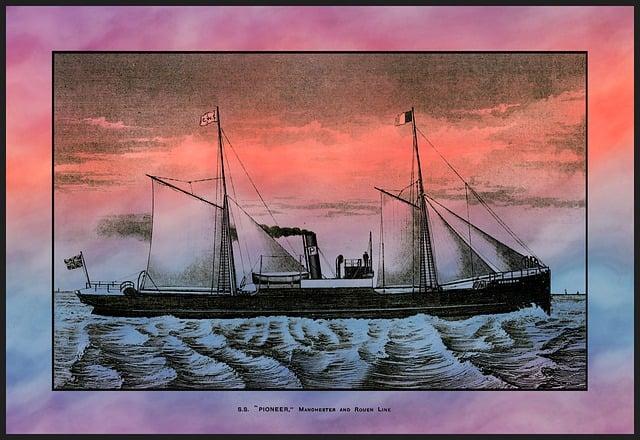 Ship, Freight, Ocean Liner, Ss, Pioneer, Voyage